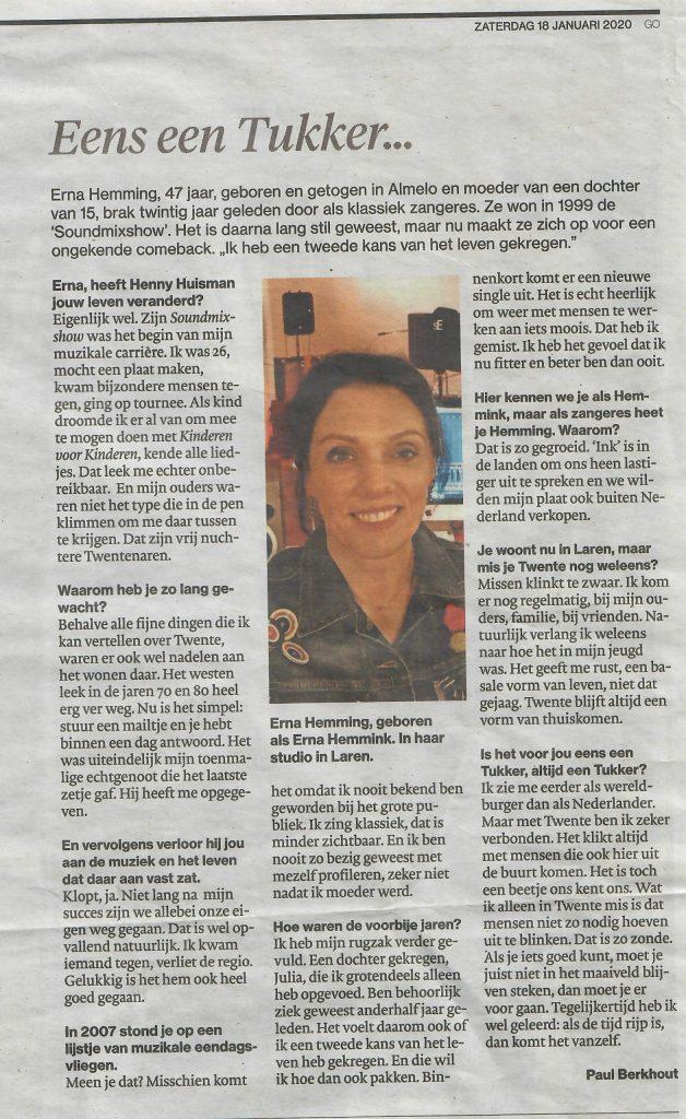 Interview Tubantia rubriek 'Eens een Tukker...'